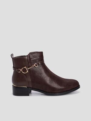 Boots multimatieres bijoux marron femme