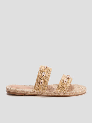 Mules tressees a coquillages beige femme
