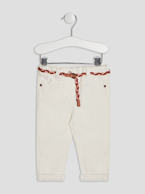 Pantalon slim effet velours ecru bebef
