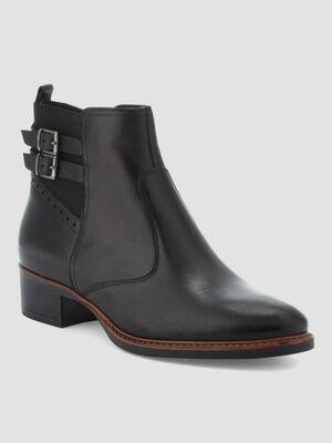 Boots en cuir unies noir femme