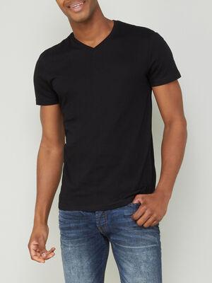 T shirt col V uni noir homme