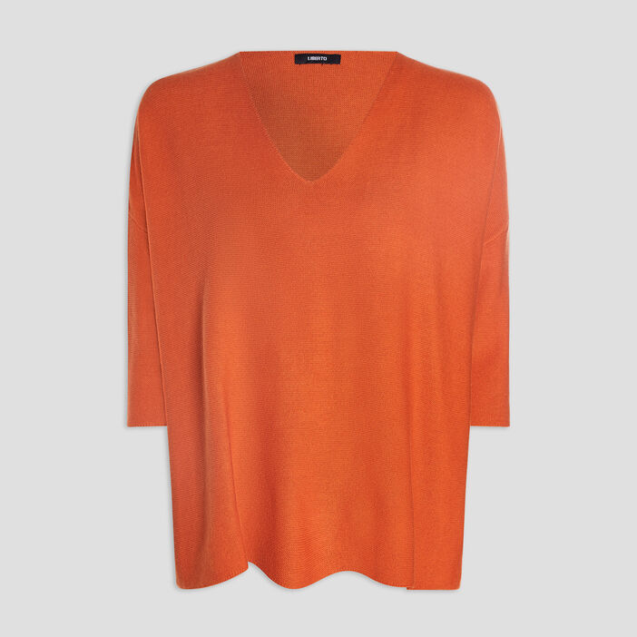 Pull manches 3/4 femme orange