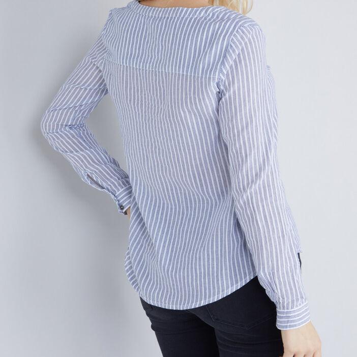 Blouse coton plastron plissé femme bleu marine