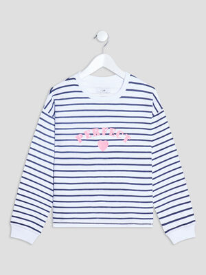 Sweat manches longues blanc fille