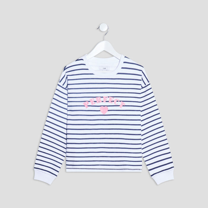 Sweat manches longues fille blanc