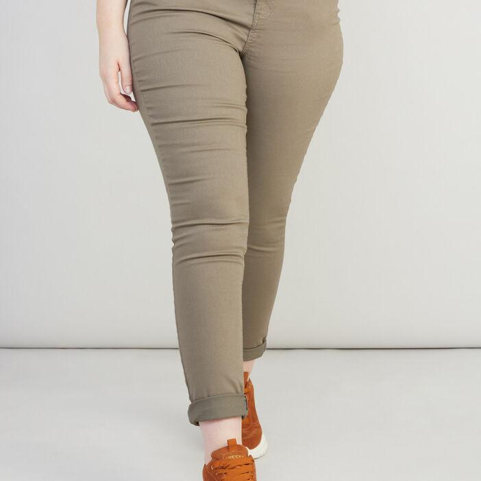 Pantalon slim 5 poches femme vert kaki