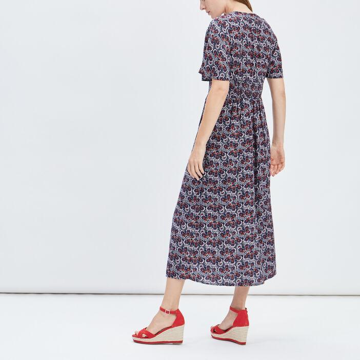 Robe longue évasée fendue femme multicolore