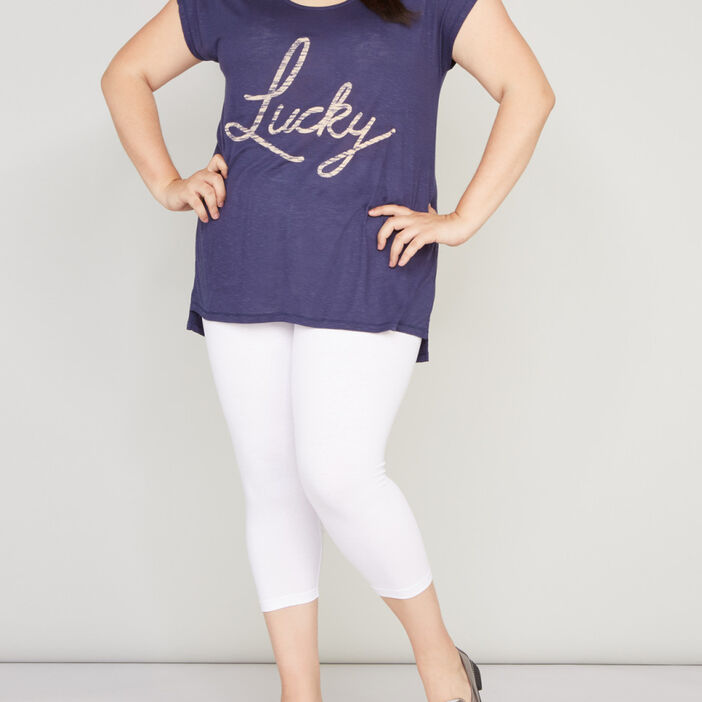 Leggings 7/8ème femme grande taille blanc