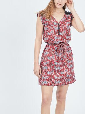 Robe droite ceinturee rose framboise femme