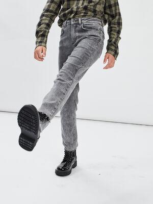 Jeans straight taille ajustable denim noir fille