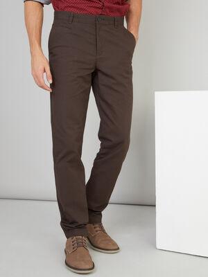 Pantalon droit en coton uni marron fonce homme