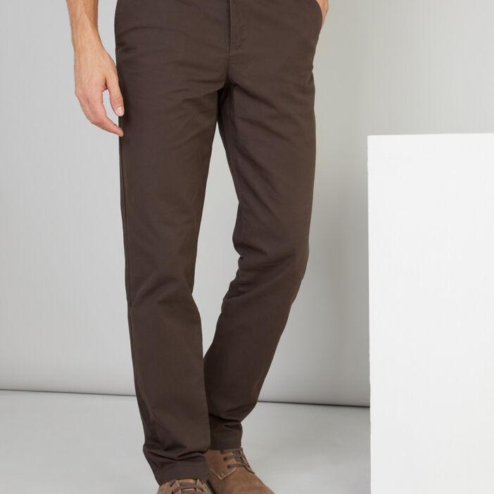 Pantalon droit en coton uni homme marron foncé