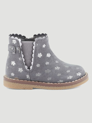 Bottines zippees bride et festons gris bebe