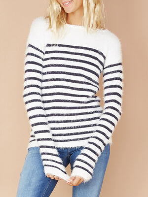 Pull a rayures col rond ecru femme