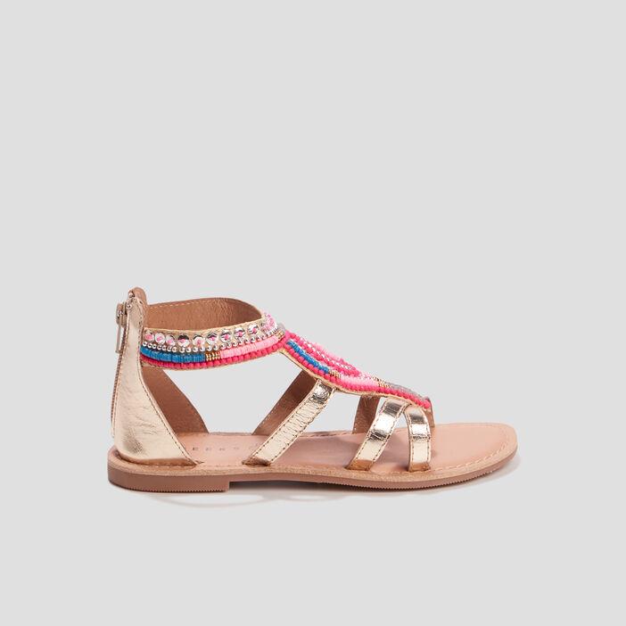 Sandales plates en cuir avec perles fille couleur or