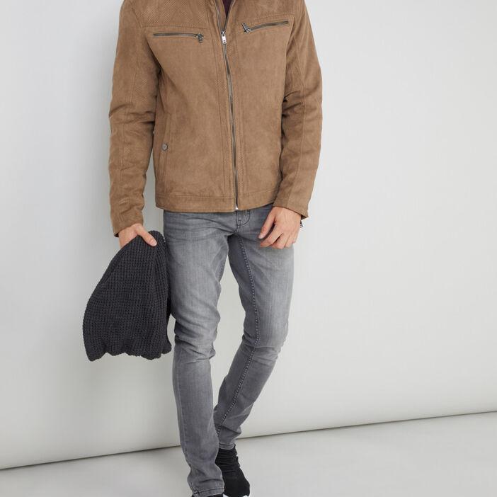 Blouson zippé à poches homme camel
