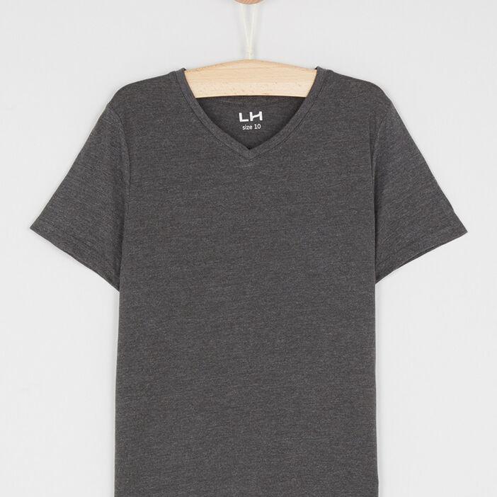 T-shirt col V manches courtes garçon gris foncã‰