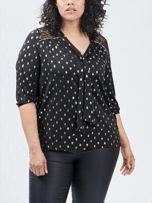 T shirt manches 34 noir femmegt