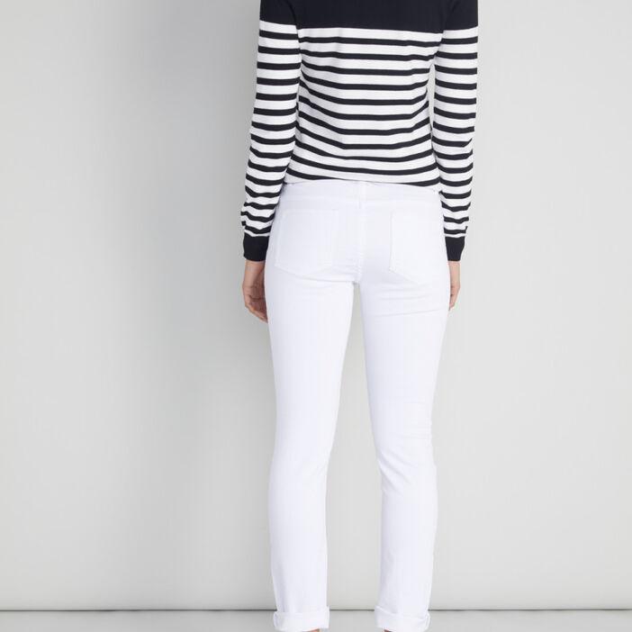 Pantalon skinny taille basse femme blanc