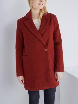 Manteau uni boutonne orange fonce femme