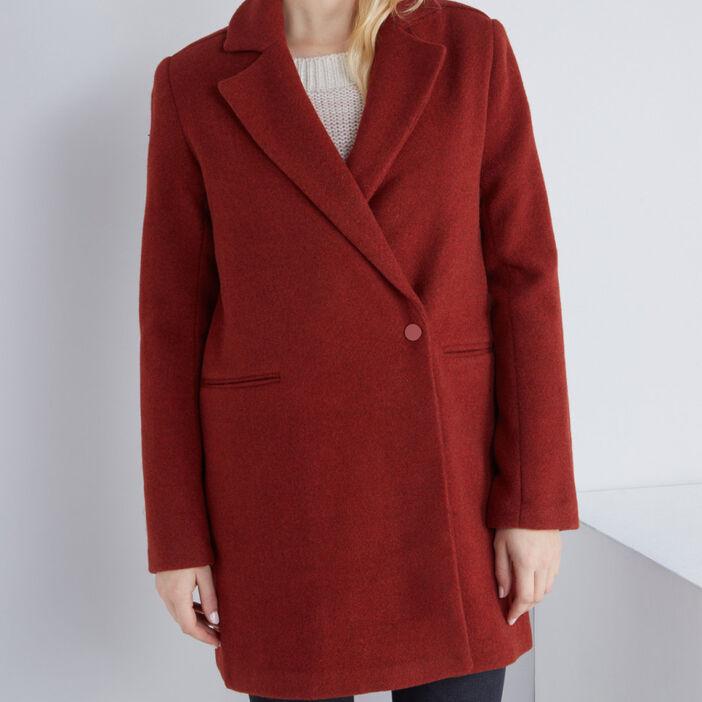 Manteau uni boutonné femme orange foncé
