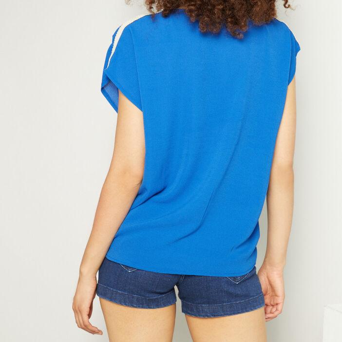 T-shirt col V uni femme bleu roi