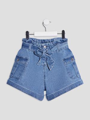 Short droit ceinture en jean denim double stone fille