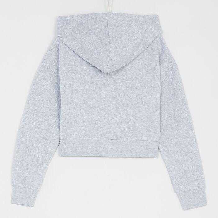 Gilet zippé court à capuche fille gris