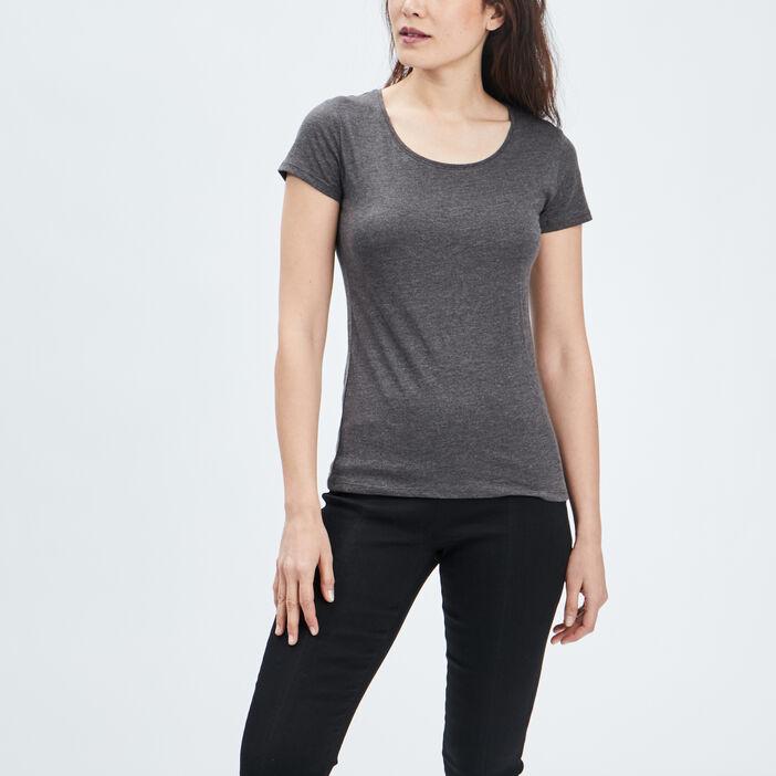 T-shirt manches courtes femme gris fonce
