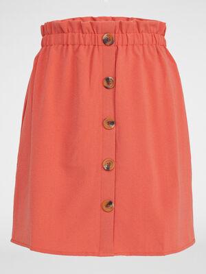 Jupe boutonnee unie orange fonce femme
