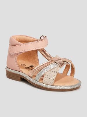 Sandales en cuir rose bebef