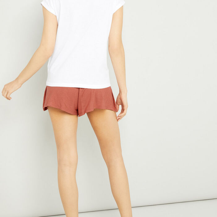 Pyjama coton mélangé 2 pièces femme blanc