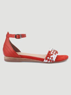 Sandales tressees cuir talon plat rouge femme