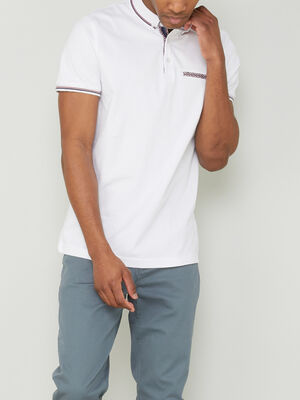 Polo manches courtes en coton blanc homme