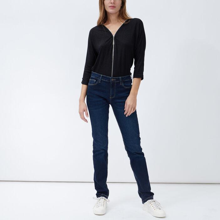Jeans regular taille basse femme denim brut