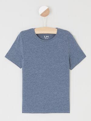 T shirt chine a manches courtes bleu garcon
