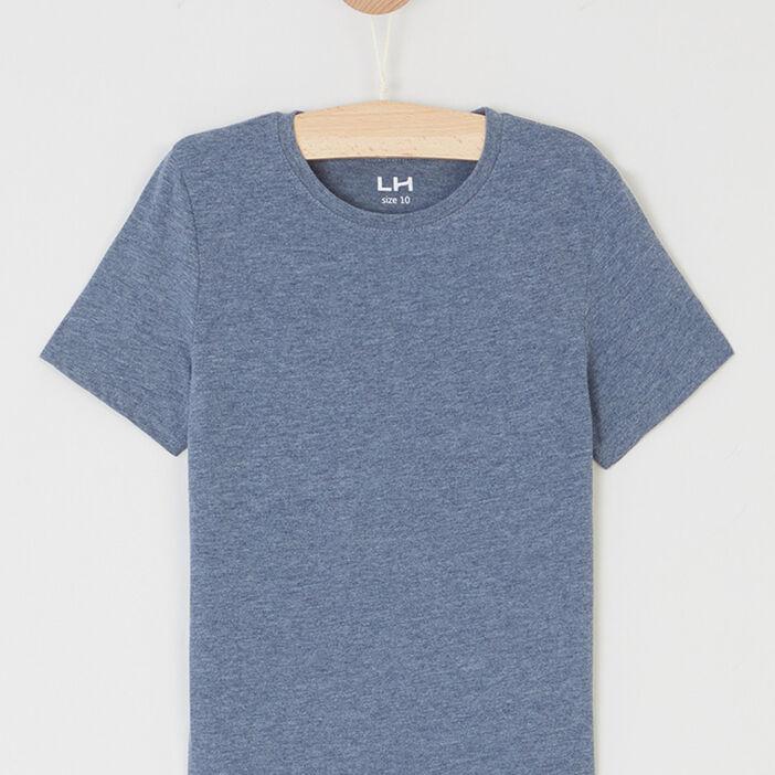 T-shirt chiné à manches courtes garçon bleu