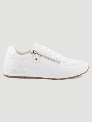 Tennis zip et lacets blanc femme