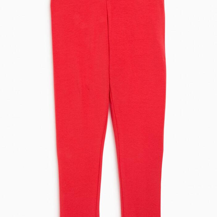 Legging coton majoritaire uni fille rouge
