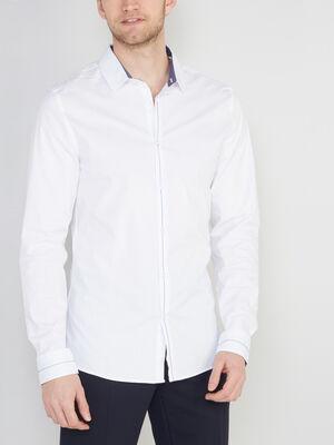 Chemise slim unie coton extensible blanc homme