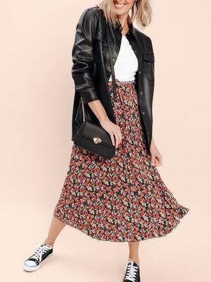 Jupe longue droite plissee multicolore femme