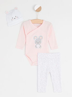 Lot body pantalon et bonnet rose clair bebef