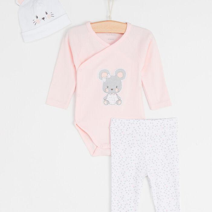 Lot body, pantalon et bonnet bébé fille rose clair