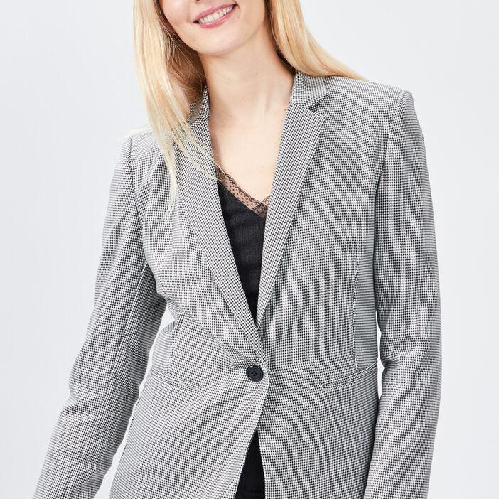 Veste droite boutonnée femme blanc