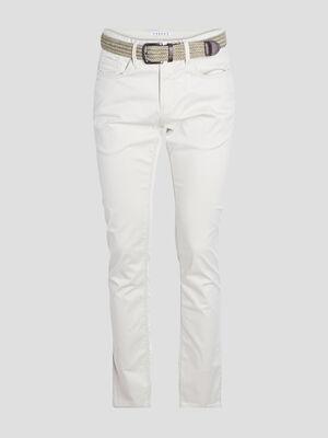 Pantalon droit avec ceinture ecru homme