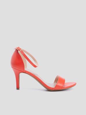 Sandales escarpins orange corail femme