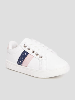 Baskets tennis zippees a lacets blanc fille