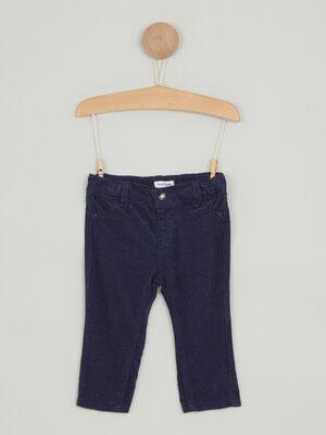 Pantalon uni en coton bleu marine garcon