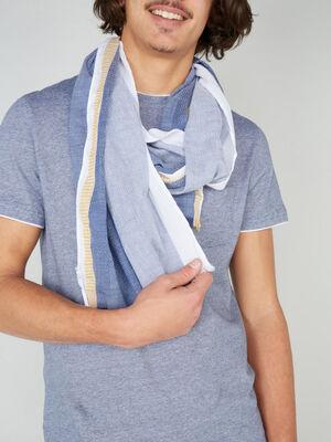 Foulard multicolore avec rayures bleu mixte