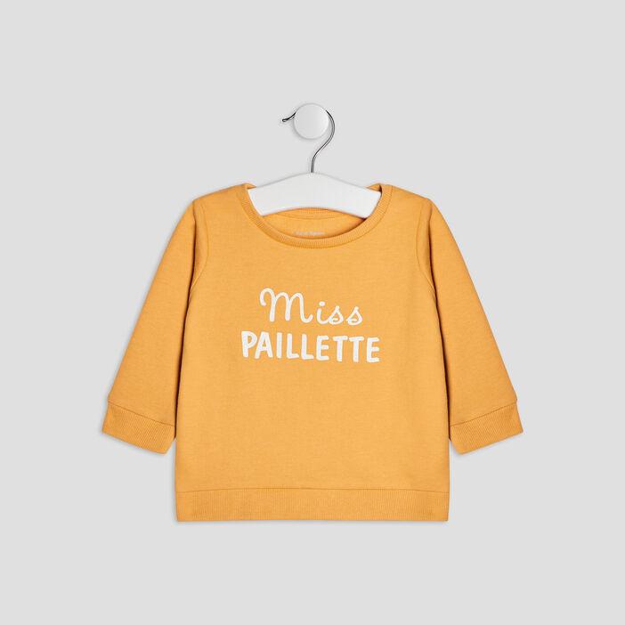 Sweat manches longues bébé fille jaune moutarde